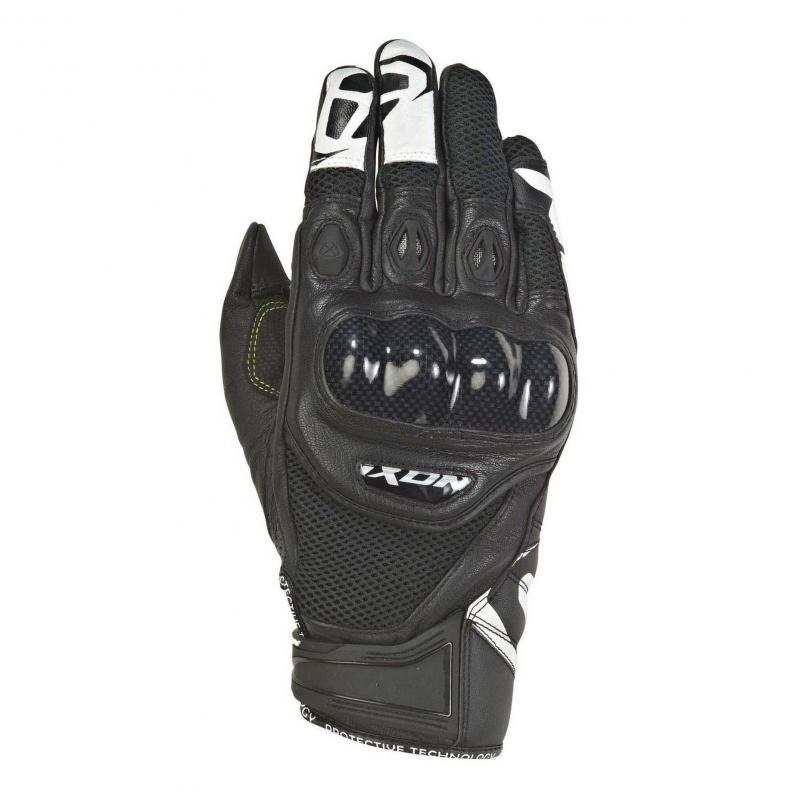 Gants été cuir/textile Ixon RS Recon Air noir/blanc