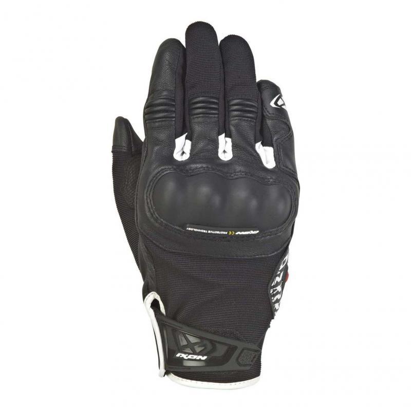 Gants été textile/cuir Ixon RS Grip 2 noir/blanc