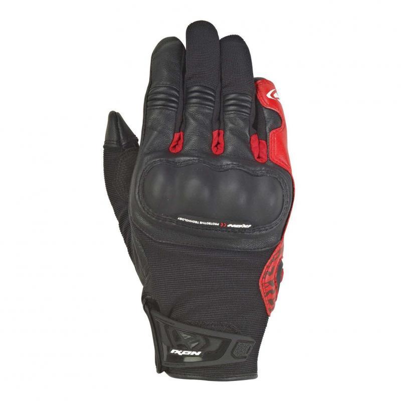 Gants été textile/cuir Ixon RS Grip 2 noir/rouge