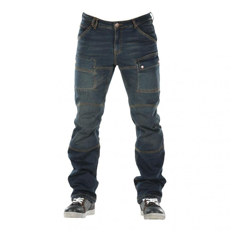 Jeans moto Overlap Sturgis bleu dirt 2