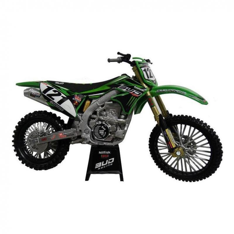 Kawasaki KXF Bud Racing Team 15 Réplica 1:12 NewRay vert/noir