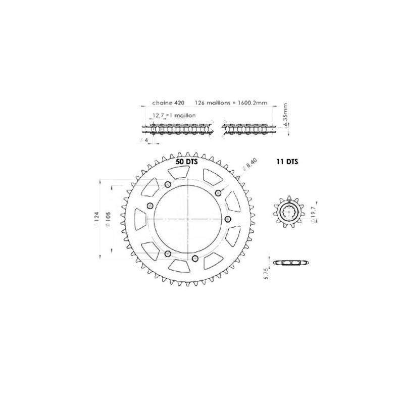 Kit chaîne Afam 11X50 pas 420 Yamaha X-limit / Yamaha DT50 03-
