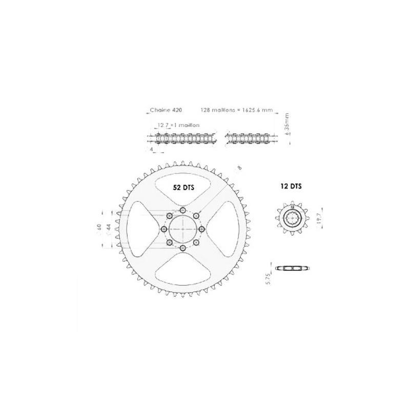 Kit chaîne Afam 12x52 pas 420 MBK X-limit 97-02