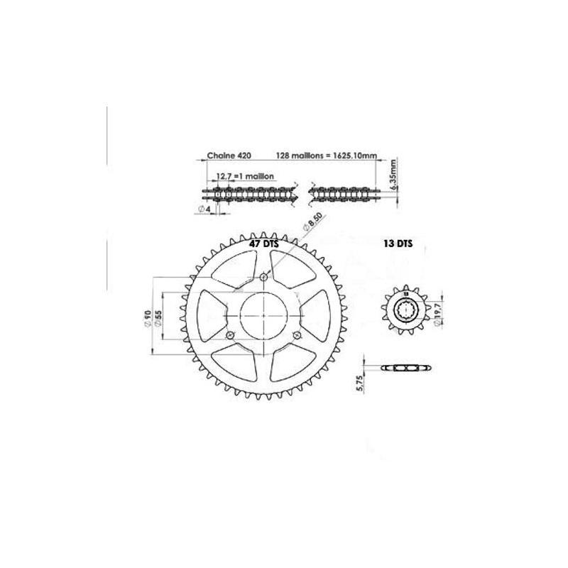 Kit chaîne Afam 13X47 pas 420 Rieju RS2 Matrix / Naked 03-