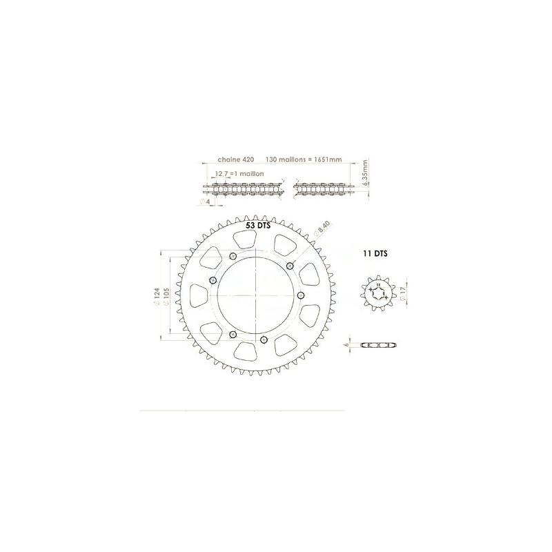 Kit chaîne Afam pas 420 11X53 Derbi Senda X-trem / X-race 06-10