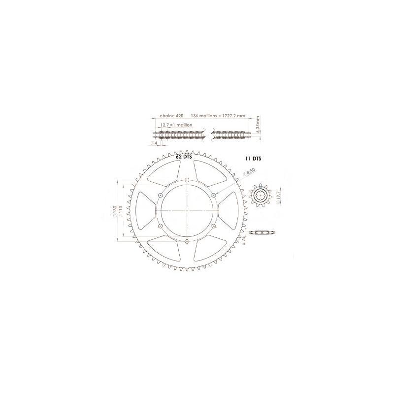 Kit chaîne Afam pas 420 11X62 CPI 50 SM 06--09