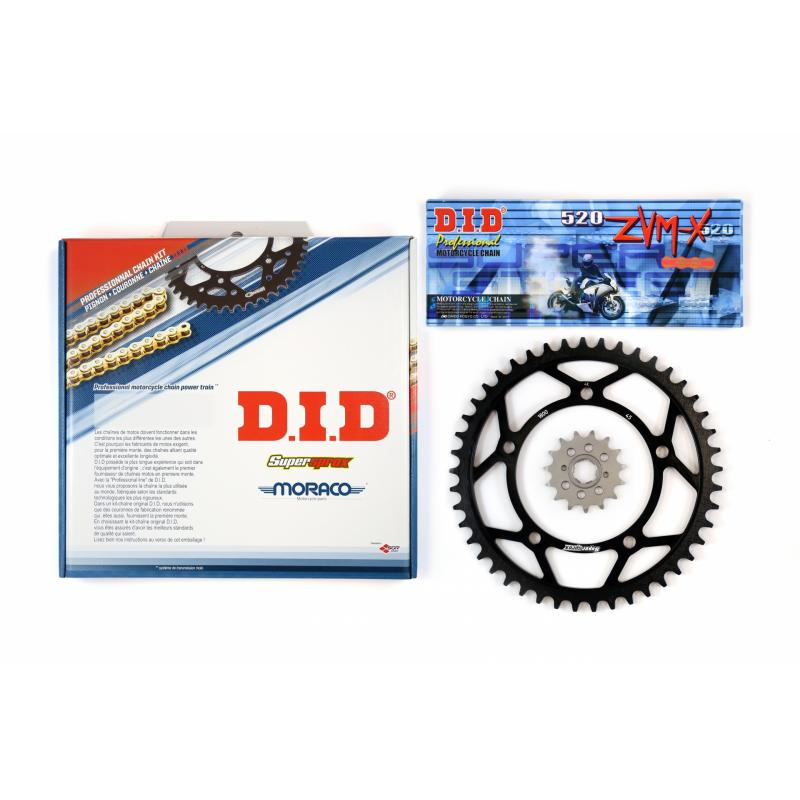 Kit chaîne DID acier Suzuki DR/S/SE 125 85-