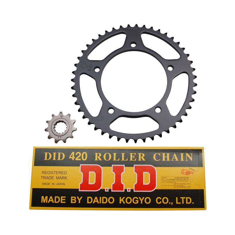 Kit chaîne DID pas 420 11x47 démultiplication d'origine alésage 102 mm adaptable RS 1999>2005