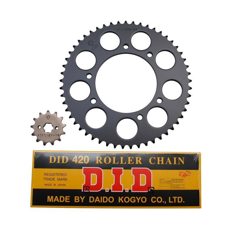 Kit chaîne DID pas 420 13x53 démultiplication d'origine alésage 102 mm adaptable senda drd r - drd s