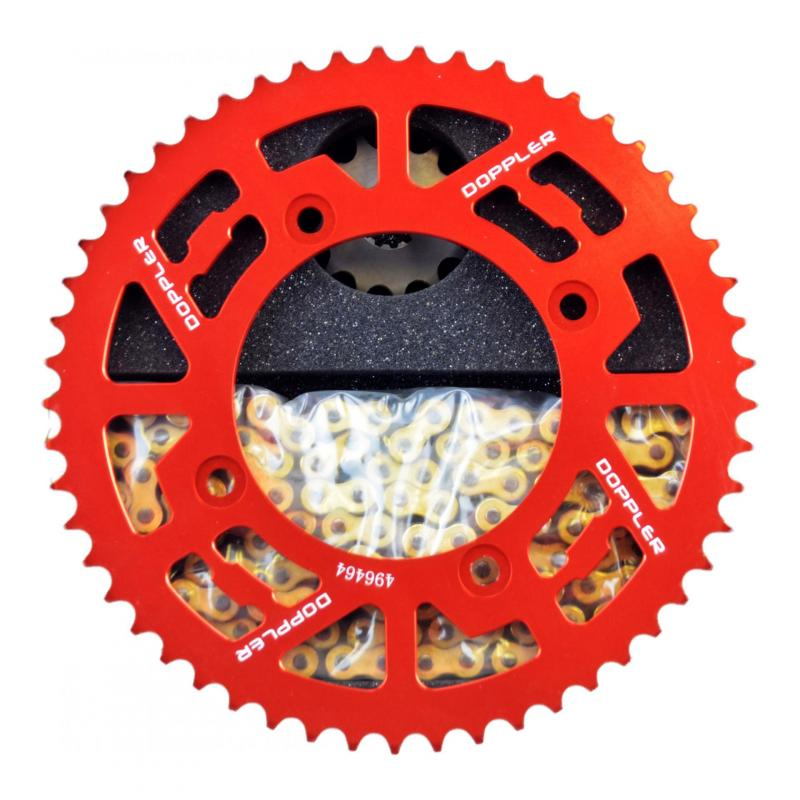 Kit chaîne Doppler 13x53 pas 428 Beta Factory / RR SM 05- alu rouge