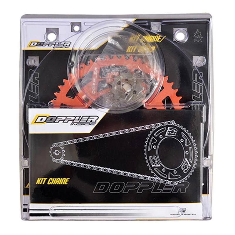 Kit chaîne Doppler 14x53 pas 420 Derbi Senda DRD / Racing 11- alu rouge