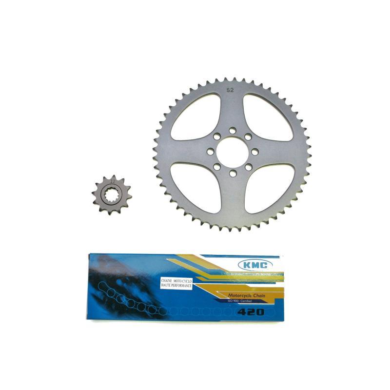 Kit chaîne pas 420 12x52 alésage 44 mm adaptable Xlimit/DTR 1997>2001