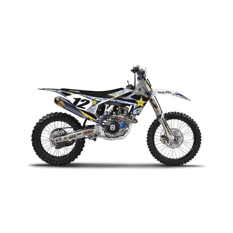 Kit déco Blackbird Rockstar Energy Husqvarna 85 TC 18-20 blanc/bleu