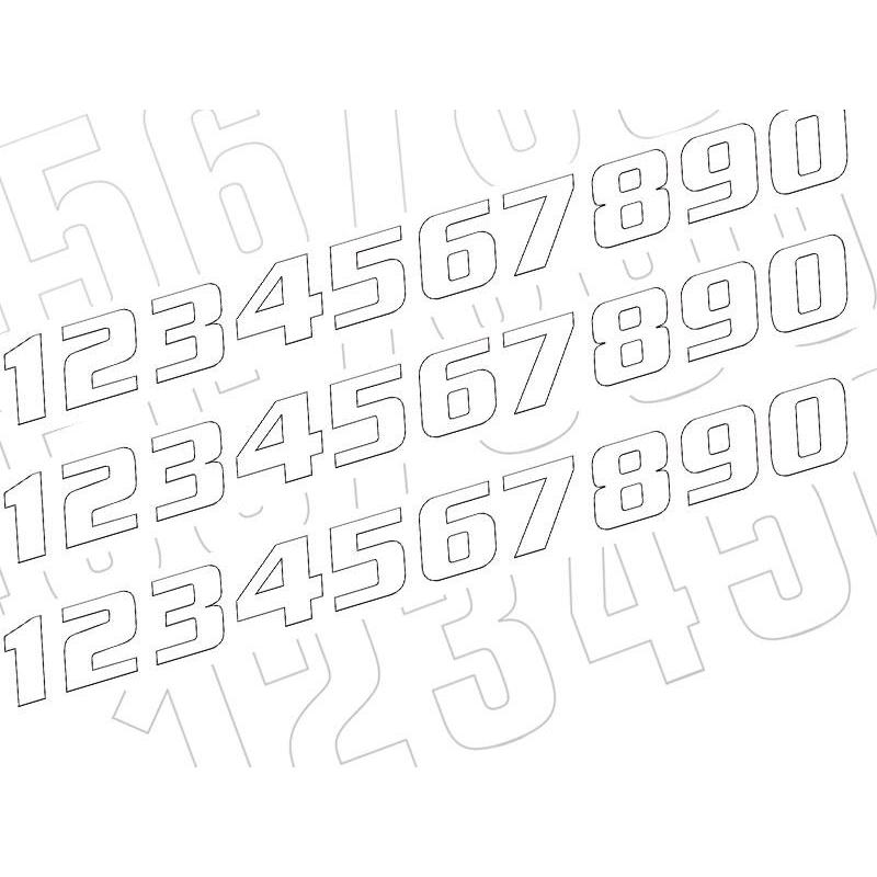 Kit numéros de course US Blackbird de 0 à 9 blanc
