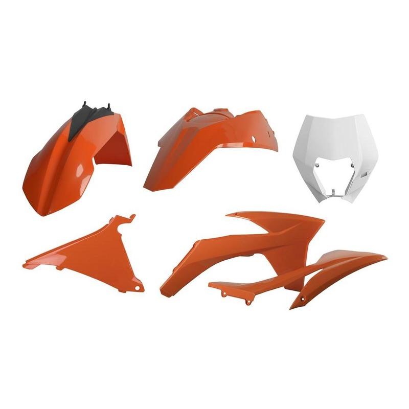 Kit plastique Polisport KTM 125 EXC 12-13 blanc/orange (couleur origine)
