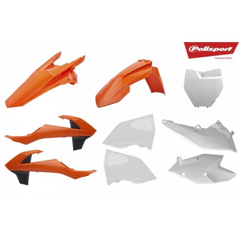 Kit plastique Polisport KTM 250 SX 16-18 (orange/blanc/noir origine 17)