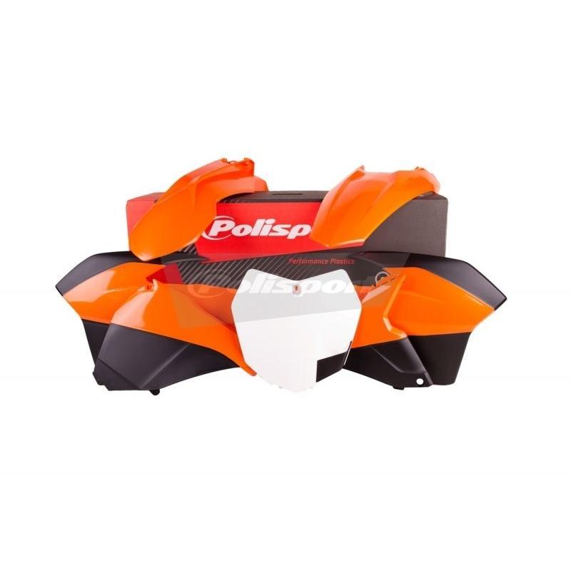 Kit plastique Polisport KTM 450 SX-F 13-15 (orange/noir/blanc origine)