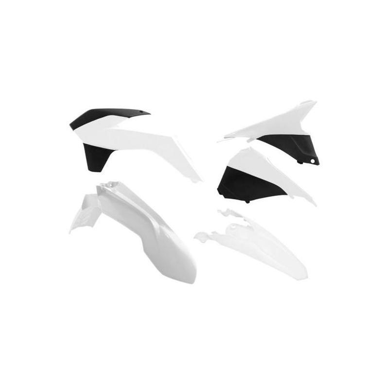 Kit plastique RTech KTM 250 EXC-F 14-16 blanc/noir (couleur OEM Six Days 14-15)