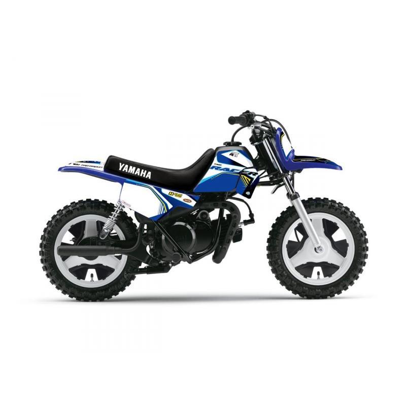 Kit plastiques ART couleur origine bleu + kit déco KUTVEK Racer bleu pour Yamaha PW 50