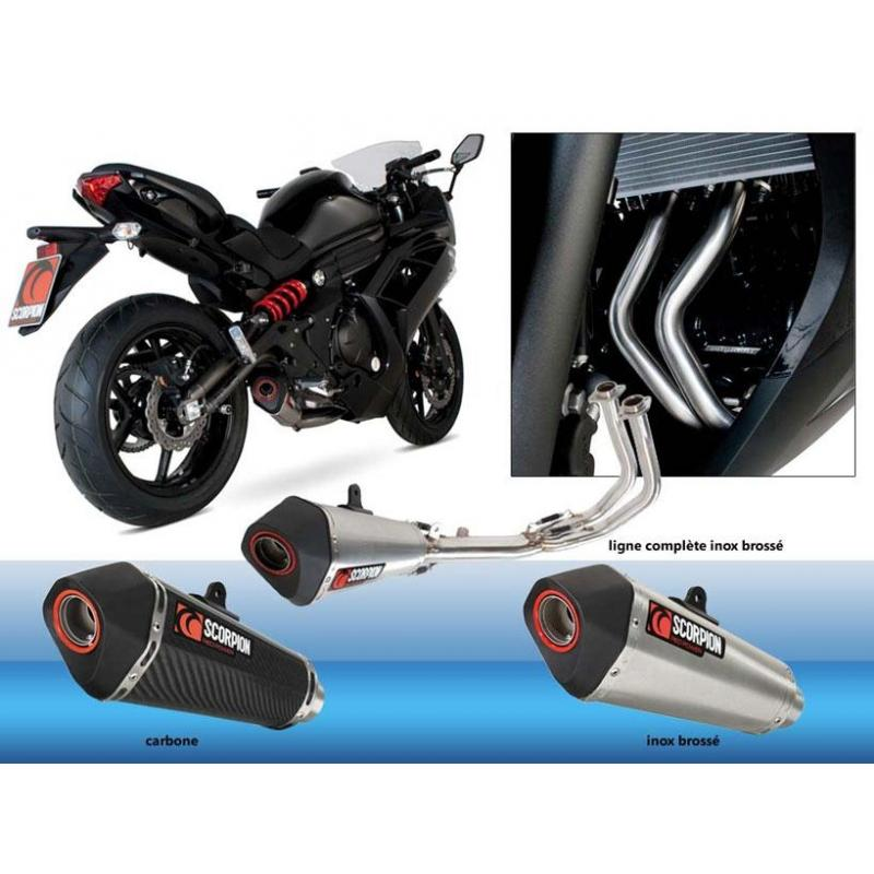 Ligne homologuée Scorpion silencieux Serket carbone Kawasaki ER6 2012-