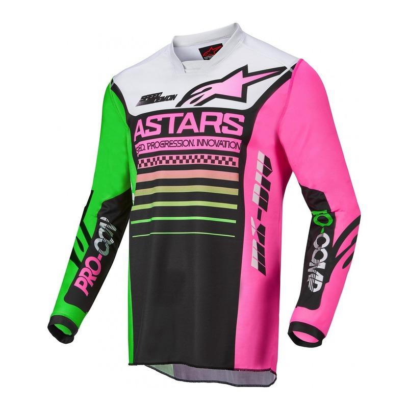 Maillot cross Alpinestars Racer Compass noir/vert neon/rose fluo