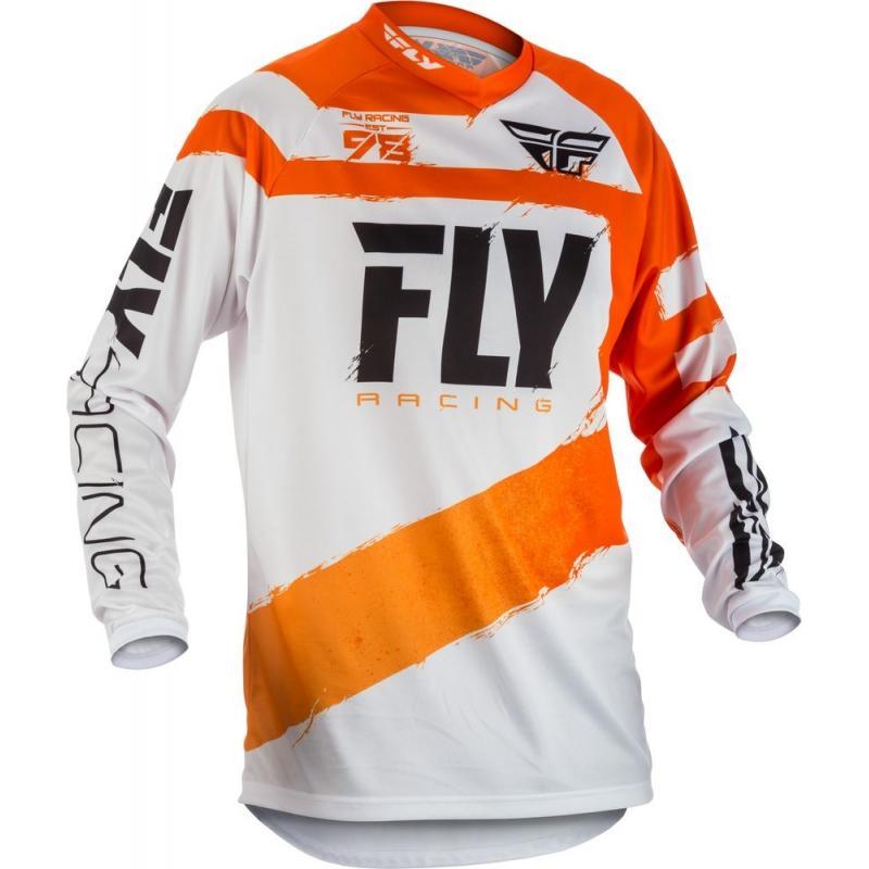 Maillot cross enfant Fly Racing F-16 orange/blanc