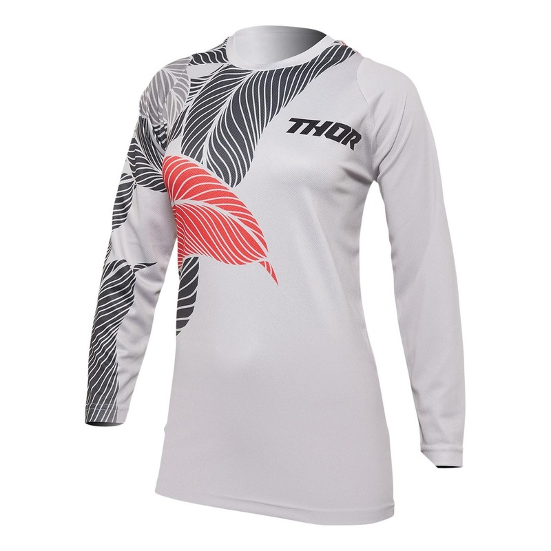 Maillot cross femme Thor Sector Urth gris clair/corail
