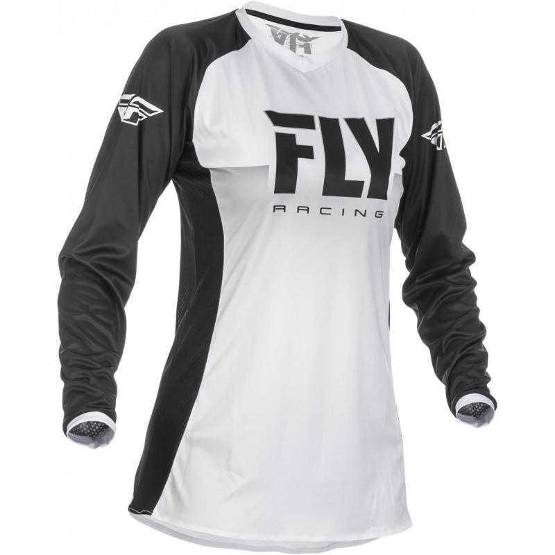 Maillot cross fille Fly Racing Lite blanc/noir