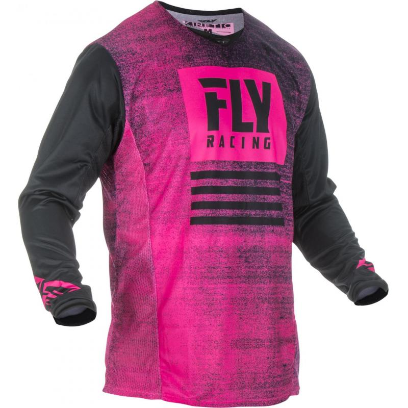 Maillot cross Fly Racing Kinetic Noiz noir/rose