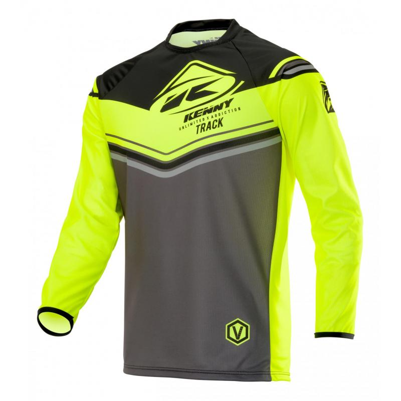 Maillot cross Kenny Track Victory charcoal/jaune fluo
