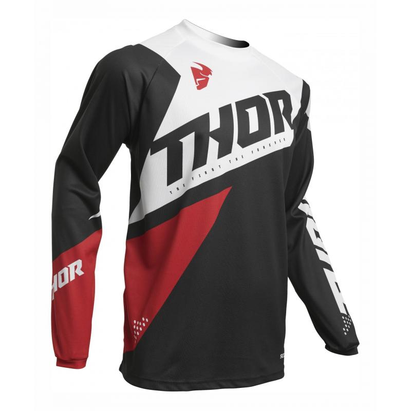 Maillot cross Thor Sector Blade charcoal/ rouge