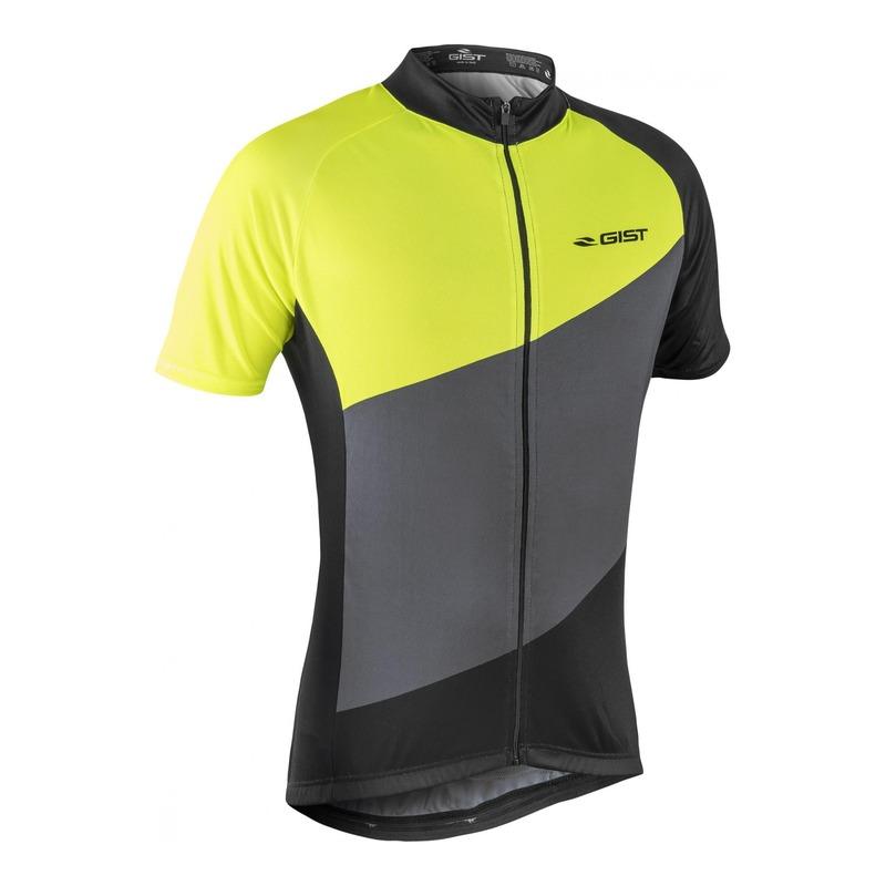 Maillot vélo Gist Flow manches courtes gris/noir/jaune fluo