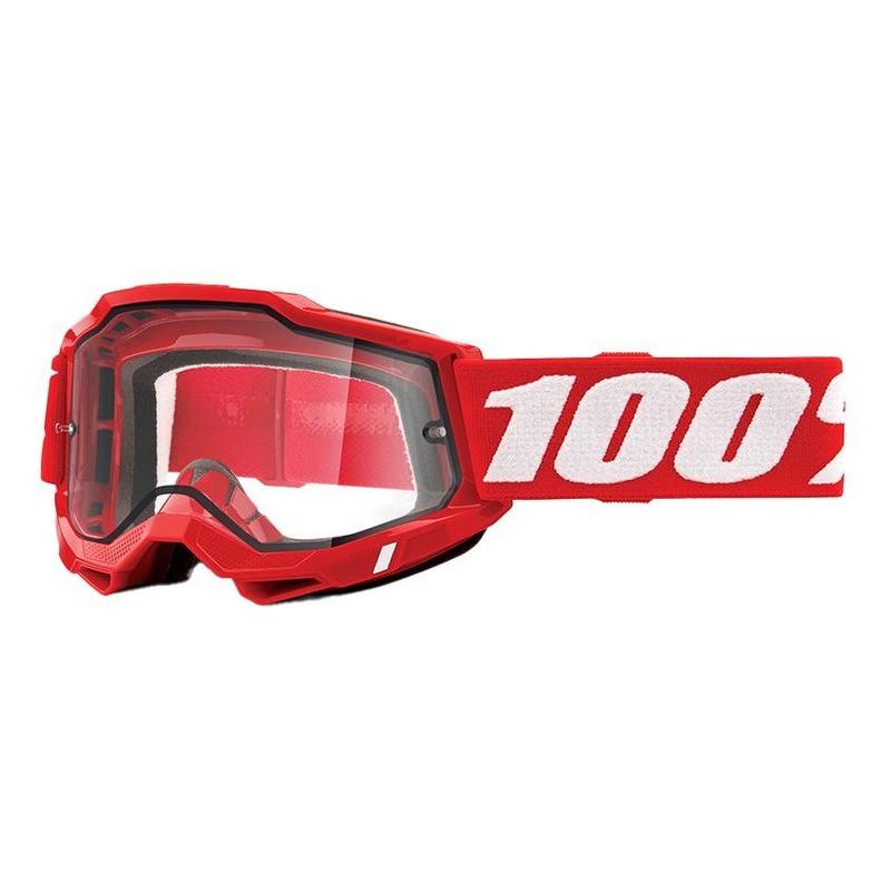 Masque cross 100% Accuri 2 Enduro Red double écran incolore