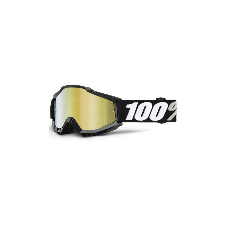 Masque cross 100% ACCURI TORNADO Mirror gold lens noir/blanc