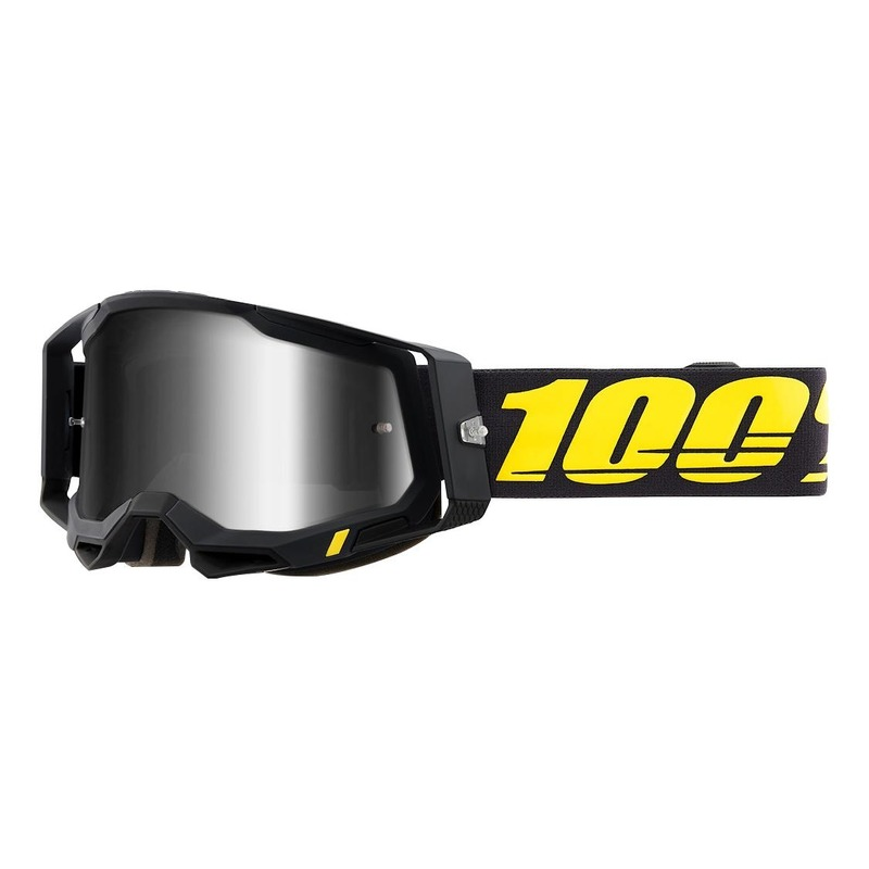 Masque cross 100% Racecraft 2 Arbis noir/jaune écran iridium argent