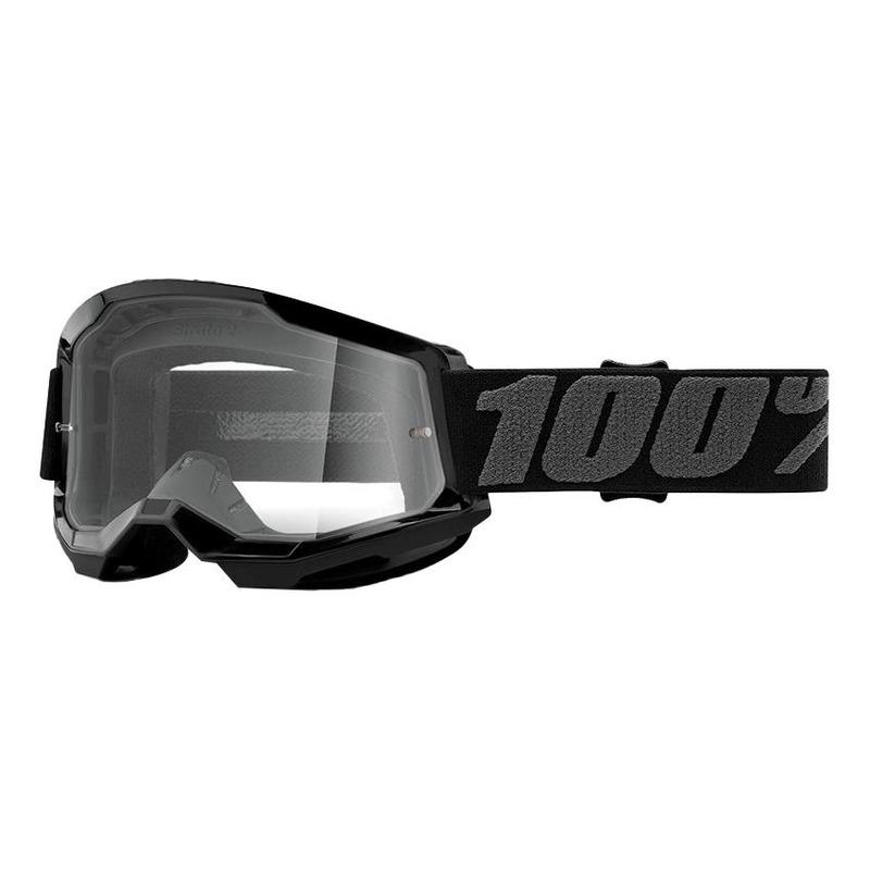 Masque cross 100% Strata 2 Black écran incolore