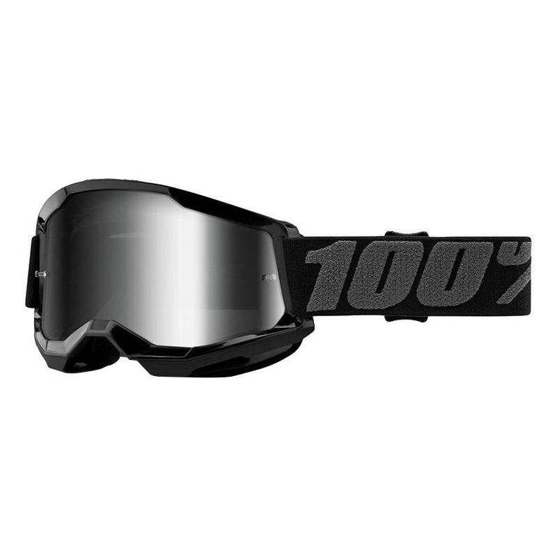 Masque cross 100% Strata 2 Black écran iridium argent