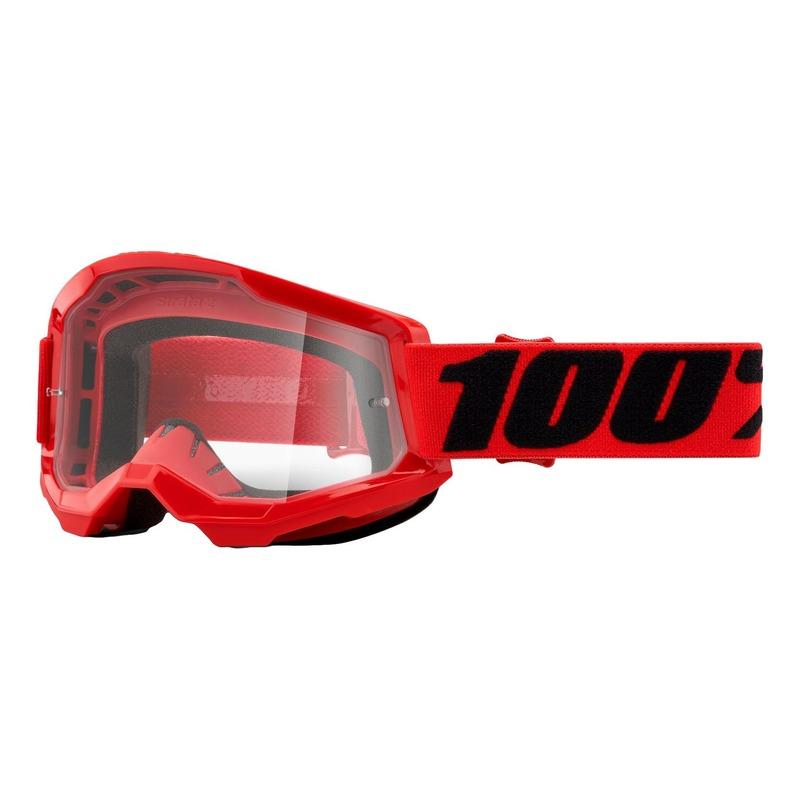 Masque cross 100% Strata 2 Red écran incolore