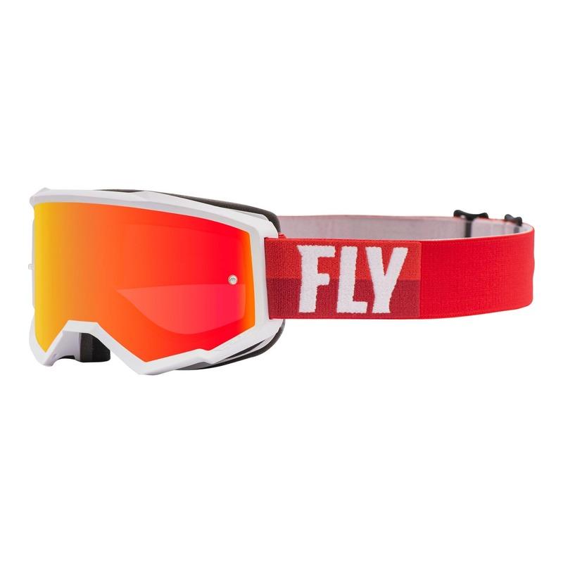 Masque cross Fly Racing Zone blanc/rouge écran iridium rouge