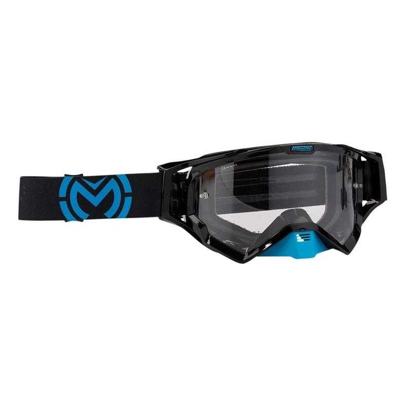 Masque cross Moose Racing XCR Galaxy bleu/noir – écran clair