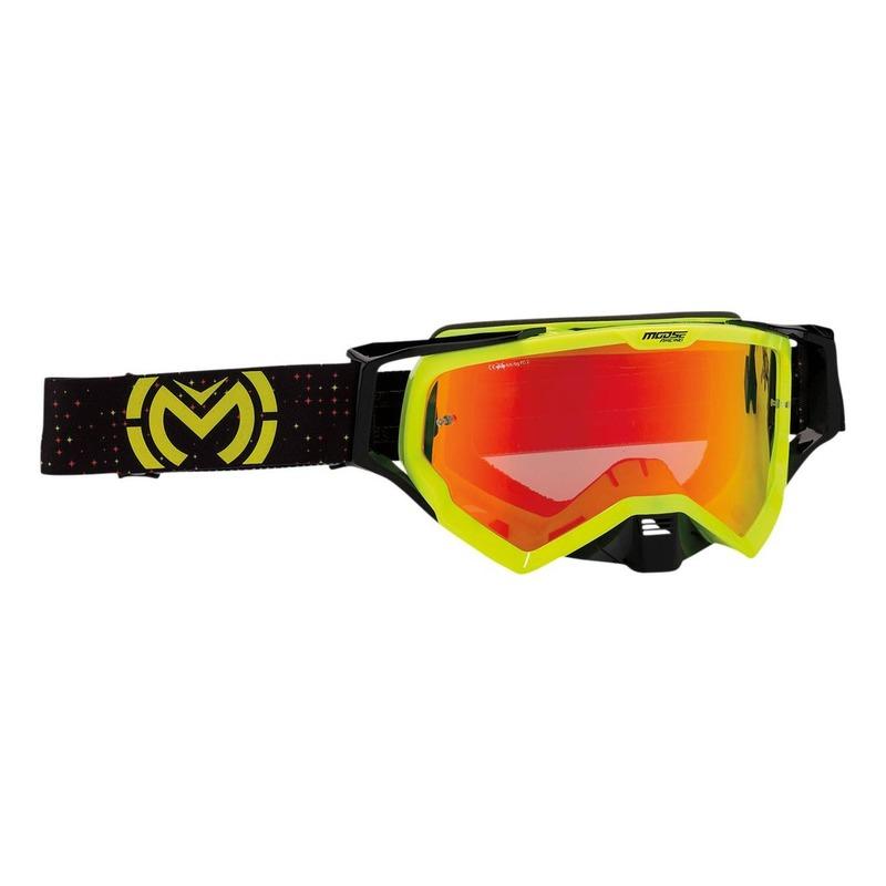 Masque cross Moose Racing XCR Pro Star jaune fluo/noir – écran rouge