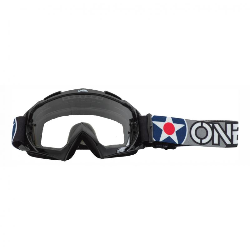 Masque cross O'Neal B-10 Warhawk noir/gris – écran clair