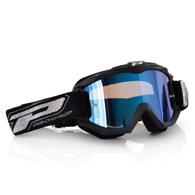 Masque cross Progrip 3204 noir mat et écran miroir bleu