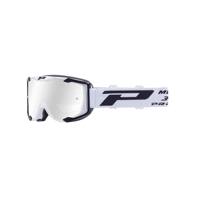 Masque cross Progrip 3404 Menace blanc/noir écran miroir blanc