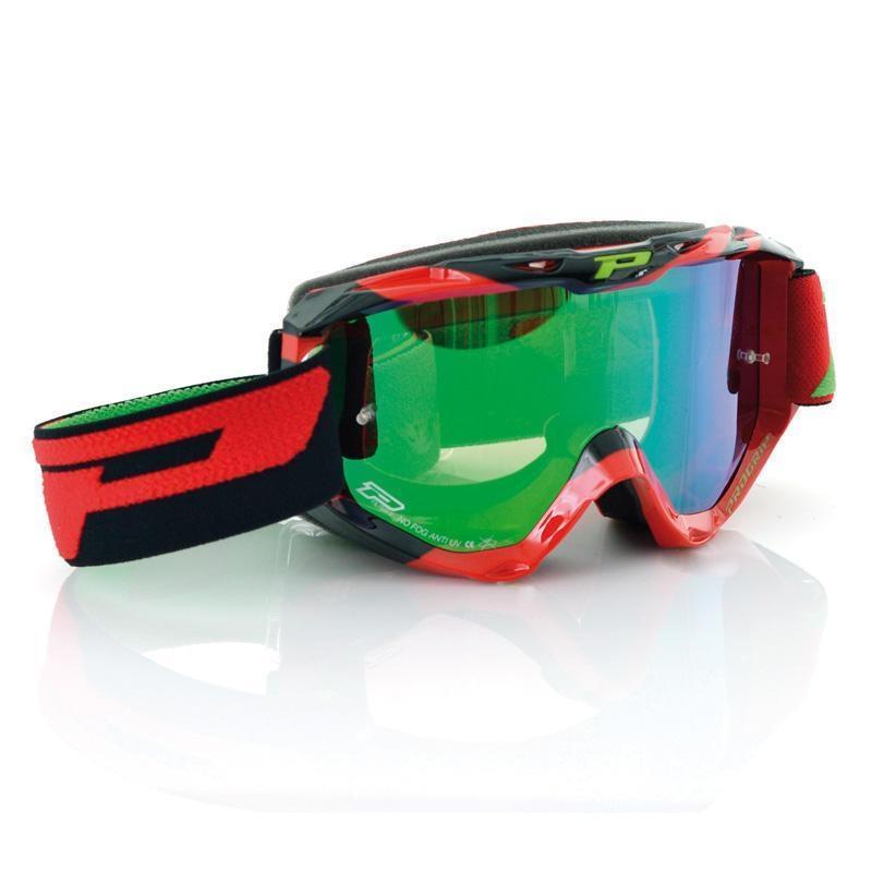 Masque cross Progrip 3450 FL rouge/noir écran miroir vert