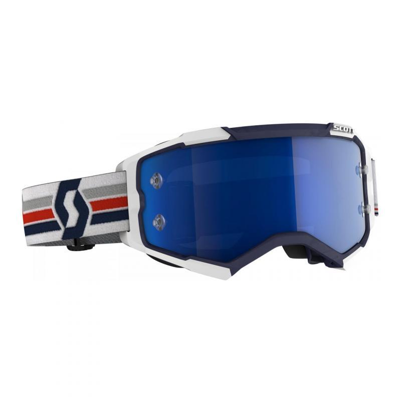 Masque cross Scott Fury bleu/blanc- écran chrome bleu