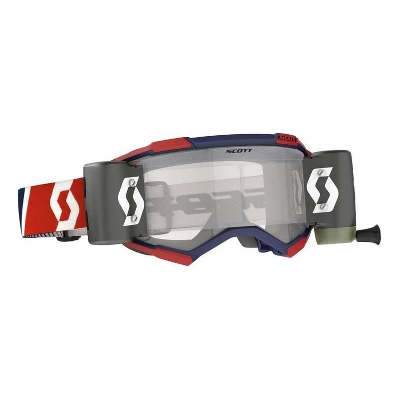 Masque cross Scott Fury WFS Roll Off rouge/bleu – écran Works clair