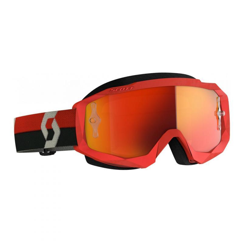 Masque cross Scott Hustle X MX rouge/gris- écran chrome orange