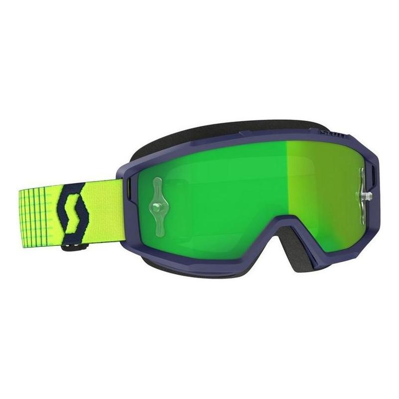 Masque cross Scott Primal bleu/jaune – écran Works chrome vert