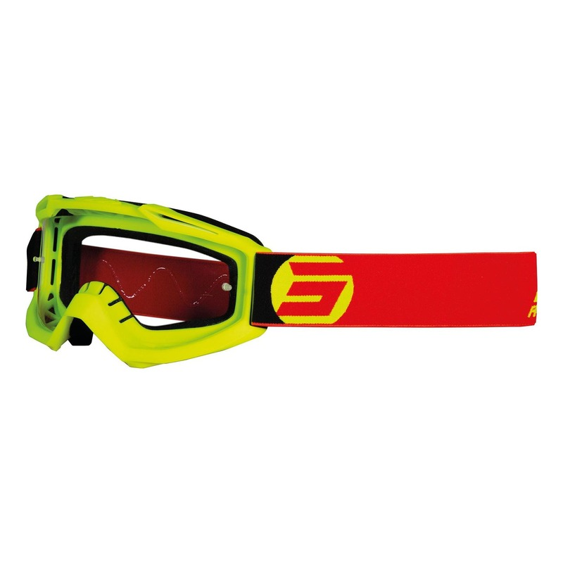 Masque cross Shot Assault Symbol mat jaune fluo/rouge